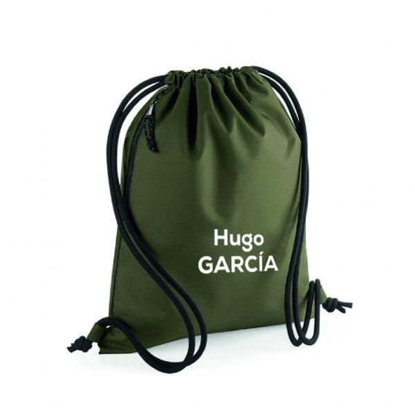mochila de cuerdas personalizable verde